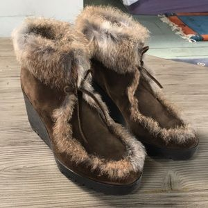 Coach olive suede wedge booties with fur trim